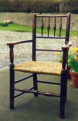 Spindle backed rush chair