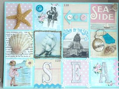 seaside bits and pieces collage (seaside rose garden) Tags: pink blue sea shells collage pieces seashore bits