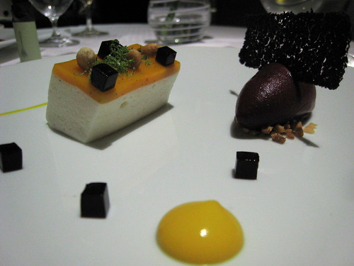 Mango and Douglas Fir Puree, Bavarois of lychee and mango, blackcurrant sorbet