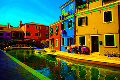 Primary Colors (Donna Corless - PhotosAndArt.com) Tags: blue red italy colors yellow canal artwork bright pastel primary multicolor burano donnacorless