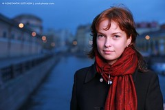 Portrait of a young redhead woman (Konstantin Sutyagin) Tags: city travel blue venice autumn red portrait urban woman brown white black color cute girl beautiful beauty weather smiling fashion horizontal female night scarf river stpetersburg season person one evening design canal photo nice twilight glamour pretty cloudy russia dusk designer space coat north perspective young longhair style petersburg landmark redhead single attractive destination copyspace saintpetersburg lovely elegant northern russian glamor channel confident earphones stylish elegance glamorous caucasian