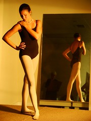 Ballerina Reflecting (mckenzieo) Tags: reflection mirror ballerina posing leotard figurepainting whitetights mckenzieoerting purplehairedchick mckenzieo standingdancer dualviews figuredrawingsession framingbydesign