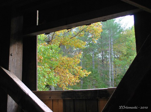 The view from inside the Lovejoy Covered Bridge