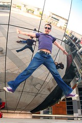 starjump! (knautia) Tags: uk england reflection bristol jump jumping may flickrr mirrorball meh milleniumsquare 2007 withdan jumpbristol starjump withtrapac drjoolzandttbristolmay07 mehjumps