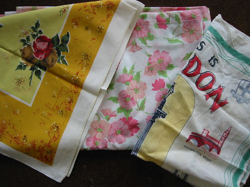Vintage tablecloth, sheet and tea towel from an estate sale