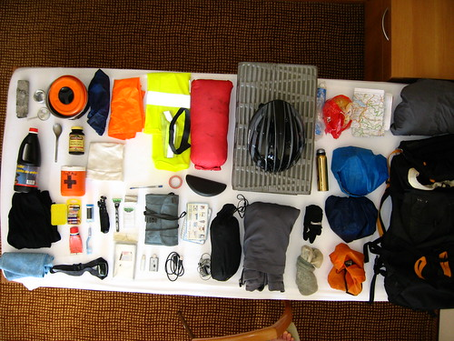 Skateboarding travel gear laid out in Leysin, Switzerland