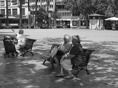 Elderly Bench Sittin' (I.Cooper.N) Tags: plaza shadow people blackandwhite valencia bench spain espana