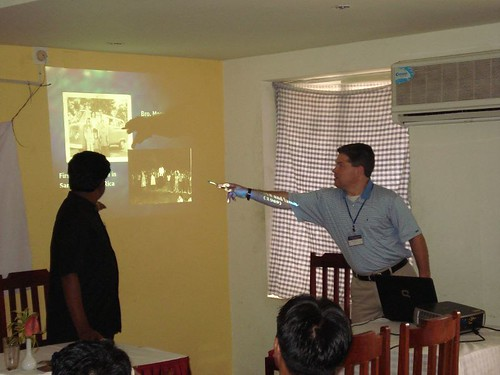 Patrick sharing the CSC PowerPoint presentation to the Indian film teams.