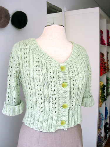 Front of the Eyelet Cardigan
