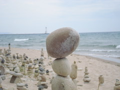 Not too far (farlane) Tags: sculpture lighthouse art beach rock found pier sand gallery michigan lakemichigan frankfort benzie frankfortrockgallery