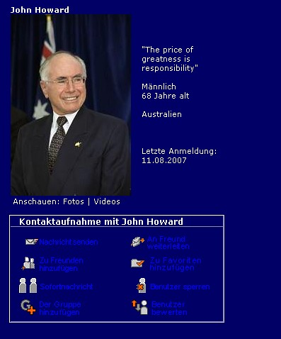 John Howard bei MySpace