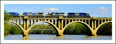 Rappahannock Crossing (Images by A.J.) Tags: railroad bridge panorama art horizontal train river virginia graphic image artistic rail railway trains panoramic explore va fredericksburg freight bookmark csx rappahannock   csxt   top20rrpix explored top20rrpixhf trpe071008