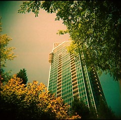 Buckhead Grand (WadeB) Tags: trees atlanta summer color film 1025fav georgia square holga grand august 98 highrise expired buckhead hotashell bluegreen 2007