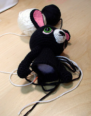 small black bunny in progress (ElisabethD) Tags: pink white black cute bunny animal studio toy stuffed doll desk handmade crafts character crochet craft wip yarn softie kawaii embriodery amigurumi crocheted gourmetamigurumi