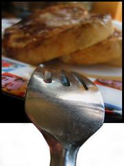 Then Again, (blonde_sage) Tags: macro breakfast bokeh fork frenchtoast oof oob