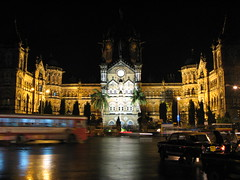 Victoria Terminus in Mumbai at night