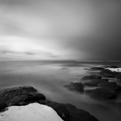 Snow fall coming (oleaa) Tags: ocean longexposure blackandwhite bw snow seascape norway dark 110 nd sn shorescape kvadratisk