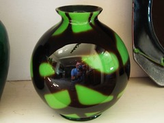 green glass vase (omoo) Tags: newyorkcity reflection green glass self apartment westvillage bookshelf vase collectibles greenwichvillage greenglassvase
