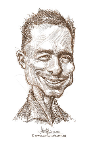 digital caricature sketch of Stevey Vega Rivera