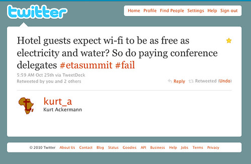 Hotel guests expect wi-fi to be as free as electricity and water? So do paying conference delegates