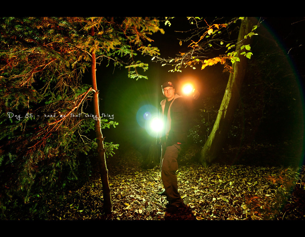 Project 365, Self Portrait, Day 85, 085/365, Strobist, flair, light, woods, cave, shiny, glowing