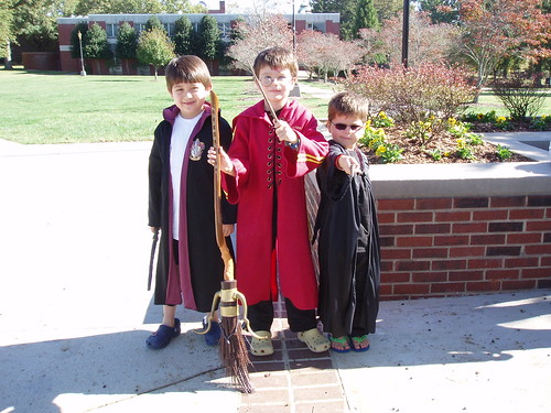 Three Harry Potters Ready for Quidditch