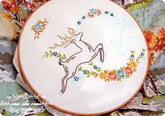 Deer Embroidery WIP (joomoolynn) Tags: flowers by vintage paint stag pattern erin embroidery wip retro deer number lush michaels