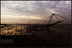 Evening sky & Chinese Fishing net at fort cochin!...
