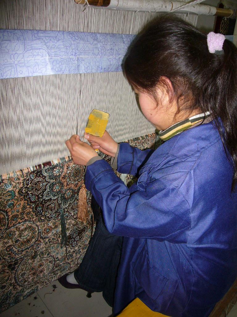 Chinese silk carpet weaver