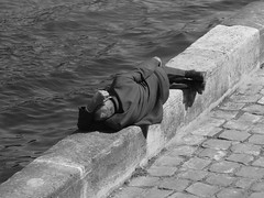 asleep on the seine (Lucychoo) Tags: old white man black paris wall seine waves suit asleep cobbles