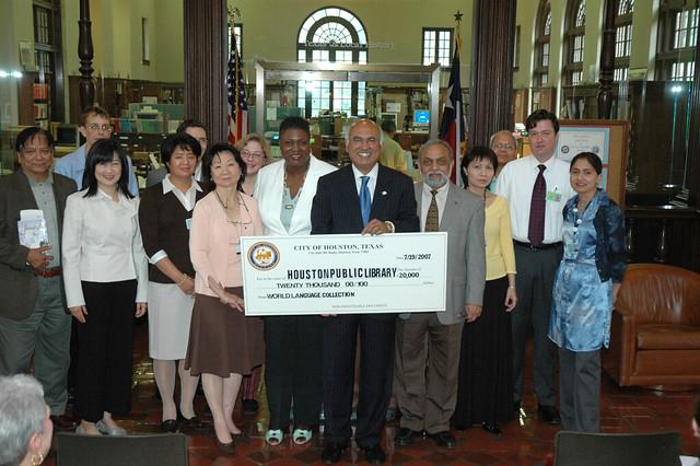 Council Member M J Khan Donates 20000 to Expand the Houston Public Librarys World Languages Collection by Houston Public Library