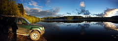 Weeks Lake panorama (Snorri Gunnarsson) Tags: road shadow portrait panorama sun lake canada water vancouver self dead island evening early nissan pano logging calm weeks setting placid xterra gunnarsson snorri snogun snorrigunnarssoncom