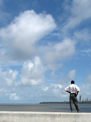 Marine Drive II (woa100) Tags: india man drive marine hill bombay mumbai malabar seaface