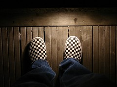 Vans Slip Ons (jacksrevenge) Tags: lowlight shoes jeans boardwalk harbourfront vans checkered pathway slipons vansslipons harbourfronttoronto vansoffthewall sonydsch2 checkeredshoes boardwalklighting