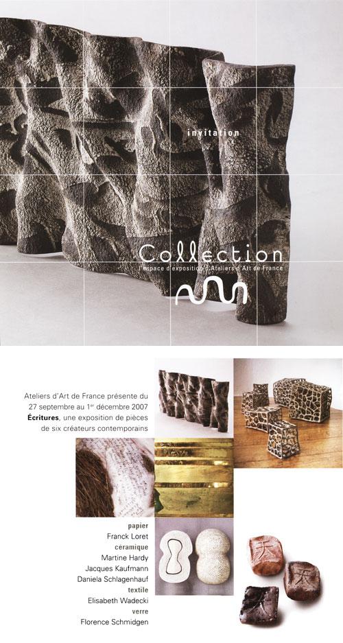 Carton d'invitation à l'exposition Ecritures d'Ateliers d'Art de France