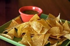 Chips and Green Salsa at El Rancho Grande