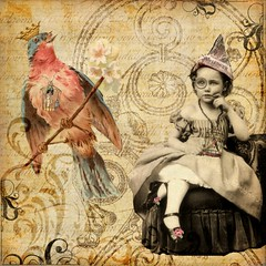 We are Just Alike, You and Me ('Playingwithbrushes') Tags: paintshoppro psp brushes tubes digital bird princess birdcage girlcage creative commons cc favekids texture alteredart playingwithbrushes freetouse vintage shabby old art