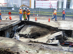 A subsidence incident or sinkhole on First Street in San Francisco, blocking traffic to the Bay Bridge. By telstar on Flickr.
