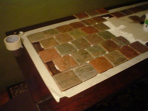 Desk half tiled