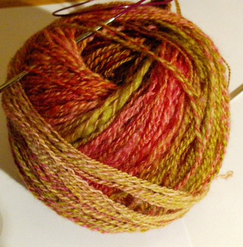Handspun BFL, for child's devil's cap