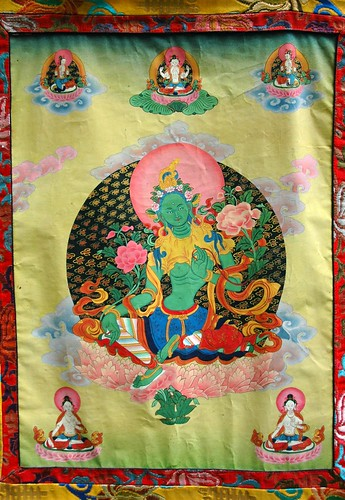 Green Tara thangka, the savior, (Chenrezig - Avalokiteshvara Bodhisattva above her), Tibetan style painting (with Nepalese style headress), Seattle, Washington, USA by Wonderlane