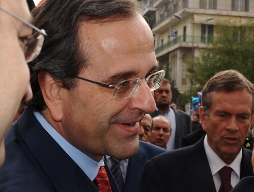 New Democracy leader, Antonis Samaras electioneering in Thessaloniki, Greece