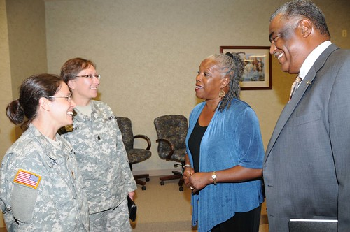 FNS Deputy Administrator for Special Nutrition Programs Audrey Rowe and  Southeast Regional Administrator Donald Arnette meet  U.S. Army Lt. Col. Kirsten Anke and Major Sarah Niles with Blanchfield Army Community Hospital, Ft. Campbell, Ky., during a ceremony Oct. 13, announcing renovations at the Montgomery County Health Department in Clarksville, Tenn.  that will also serve military families from nearby Ft. Campbell.