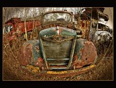 Junk Yard (Calvin J.) Tags: auto old ontario canada color car yard vintage junk nikon nik nikkor scrap hdr wrecking rockwood photomatix mcleans 16mmfisheye efex d700