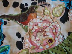 flower fairies (calamity kim) Tags: birds bees applique michaelmiller fogs heatherbailey rawedge reversibleapron calamitykimstyle vintagequilttop