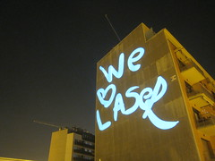 Laser Message on Building, Barcelona
