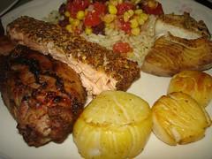 Father's Day BBQ Feast 2007 (Plaid Ninja) Tags: food fish black chicken tomato beans corn day rice salmon bbq scallops salsa fathers jerk