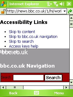 BBC News web site loaded under Pocket IE