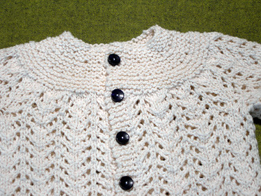 February Baby Sweater, close up