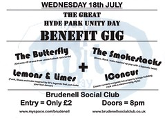 unity gig poster 2 (Nath Brudenell) Tags: butterfly leeds smokestacks brudenell unityday iconcur